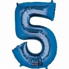 """26""""/66cm x 34""""/86cm Skaitlis 5 Folija balons Super figure Zilā"""