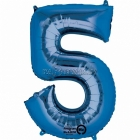 "26""/66см x 34""/86см Цифра 5 Шар из фольги Супер фигура Цвет: синий"