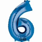 "26""/66см x 34""/86см Цифра 6 Шар из фольги Супер фигура Цвет: синий"