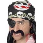 Melns pirāta lakats ar miroņgalvu rakstu