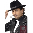 Гангстерская шляпа, черная c лентой, фетровая