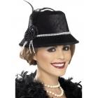 Шляпка в стиле 1920-х, черная, жемчуг, цветы