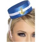 Мини шляпка морячки, синяя, на заколке