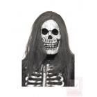 Маска Скелета на Хэллоуин, из латекса, с длинными серыми волосами