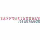 Гирлянда-буквы 1-й День Рождения розовая. В комплекте наклейки - цифры 0-9