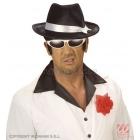 Melna, samta gangsteru cepure ar baltu satīna lentu