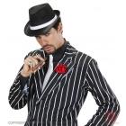 Melna gangstera cepure ar baltu lentu
