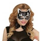 Черно-серебрянная, блестящая маска котика