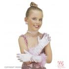 Перчатки детские, атласные, марабу