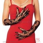 Перчатки чёрные, узор,  кружево, 40 см