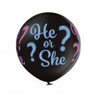 """Puika vai meitene"" lateksa balons Kas piedzims?  1 gab. 24""/60 cm Pastelis: 025 Melns. Druka: 1 Krāsa(s) / 4 Puses"
