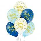 """""""Mazuītis"""" 12""""/30 cm lateksa baloni  6 gab. Pastelis: 002 Balts, 003 Gaisi Zils, 022 Koši Zils. Druka: 1 Krāsa(s) / 5 Puses"""