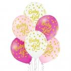 """""""Mazulīte"""" 12""""/30 cm lateksa baloni 6 gab. Pastelis: 002 Balts, 004 Gaiši Rozā, 010 Koši Rozā. Druka: 1 Krāsa(s) / 5 Puses"""