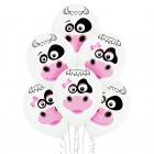 """""""Gotiņas"""" 12""""/30 cm lateksa baloni  6 gab. Pastelis, 002 Balts. Druka: 2 Krāsa(s) / 2 Puses"""