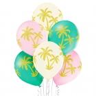 """Palmas"" 12""/30 cm lateksa baloni 6 gab. Pastelis: 004 Gaiši Rozā, 016 Vanilla, 005 Meža Zaļš. Druka: 1 Krāsa(s) / 4 Puses"
