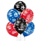 """""""Pirāti"""" 12""""/30 cm lateksa baloni  6 gab. Pastelis: 022 Koši Zils, 101 Sarkans, 025 Melns. Druka: 1 Krāsa(s) / 5 Puses"""