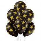 """Zvaiznes"" 12""/30 cm lateksa baloni 6 gab. Pastelis: 025 Melns. Druka: 1 Krāsa(s) / 5 Puses"