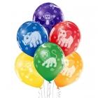 """""""Zoodārza dzīvnieki"""" 12""""/30 cm lateksa baloni  6 gab. Pastelis: 011 Koši Zaļš, 117 Koši Dzeltens, 007 Oranžs, 101 Sarkans, 153 K"""