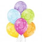 """3.Dzimšanas Diena 12""""/30 cm lateksa baloni  6 gab. Pastelis: 008 Abolu Zaļš, 117 Koši Dzeltens, 007 Oranžs, 010 Koši Rozā, 009"""
