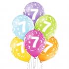 """7.Dzimšanas Diena 12""""/30 cm lateksa baloni  6 gab. Pastelis: 008 Abolu Zaļš, 117 Koši Dzeltens, 007 Oranžs, 010 Koši Rozā, 009"""