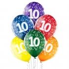 """10.Dzimšanas Diena 12""""/30 cm lateksa baloni 6 gab. Caurspīdīgi:  035 Zaļš, 036 Dzeltens, 037 Oranžs, 131 Koši Sarkans, 023 Koši"""