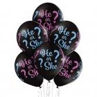 """Puika vai meitene"" lateksa balons Kas piedzims? 12""/30 cm lateksa baloni 6 gab. Pastelis: 025 Melns. Druka: 1 Krāsa(s) / 4 Pus"