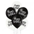 Happy Birthday – 30 cm. baloni 6 gab., pastelis: melns un balts,  apdruka 1 krāsā / 2 pusēs