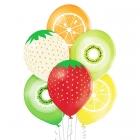 Augļi – 30 cm. baloni 6 gab., pastelis: dzeltens, oranžs zaļš ābols, laims, sarkans un vanils. apdruka 1 krāsā / 5 pusēs