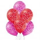 Sirsniņas – 30 cm. baloni 6 gab., pastelis: sarkans, tumši rozā. apdruka 1 krāsā / 5 pusēs.