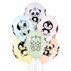"""Brīnumainie vienradži – 30 cm. baloni 6 gab., pastelis: maigas """"makarūnu"""" krāsas;  apdruka 1 krāsā / 4 pusēs"""