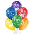 Skola ir forša – 30 cm. baloni 6 gab., caurspīdīgi: zaļš, dzeltens, oranžs, koši sarkans, koši violets, zils; druka: 1 krāsa(s)