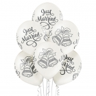 Just Married zvaniņi – 30 cm. kāzu baloni 6 gab., balts perlamutrs; druka: 1 krāsa(s) / 5 puses