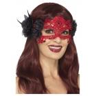 Velna acu mežģīņu maska ar rozēm, sarkana ar melnu