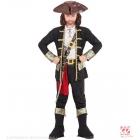 PIRĀTU KAPITĀNS, jaka, krekls, bikses, siksna, zobena atlūza ar sprādzi, cepure, zābaku apvalks 128 cm 5-7 gadi