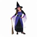 Raganas kostīms 8-10 gadīgu meitenēm - velūra kleita ar korseta detaļām, velūra cepure.