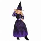 Raganas kostīms 4-6 gadīgu meitenēm. Violeta kleita ar audumu sprādzi un cepure ar svītrainu lenti.