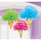 Магазин сладостей - пом-пом бумажная подвесная декорация, комплект 3шт х 30см