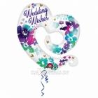 Folijas balons ar hēliju kāzām - Akvarelis ziedi, 76x78cm, piepūšana ar hēliju ietilpst cenā
