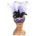 Venēcijas maska Colombina. violeta. ar daudzkrāsainu šlefu