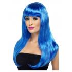 Brīnišķīgs sieviešu parūks, zils, garš, taisns no pieres