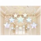 Istabas zaigojoši dekori - Zvaigznes, 14gb.x 60cm folijas spirāles un 16gb.x 60cm spirāles ar 13cm zvaigznēm,