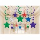 Istabas varavīksnes krāsas dekori - Zvaigznes, 14gb.x 60cm folijas spirāles un 16gb.x 60cm spirāles ar 13cm zvaigznēm,