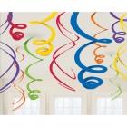 Piekaramās spirālveida folijas dekorācijas, 12 gab, varaviksnes krāsas, 55.8 cm