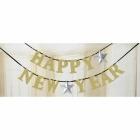 Burtu baneris Laimīgu Jauno gadu!,  sudrabs un zelts, 360 x 14 cm