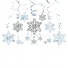 Sniegpārslas - piekaramās spirālveida dekorācijas, 30 gab., folija/papīrs,  61 cm