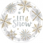 """Šķīvji """"Spīdošs sniegs"""", papīrs ar foliju, 27 cm, 8 gab."""