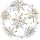 """Šķīvji """"Spīdošs sniegs"""", papīrs ar foliju, 18 cm, 8 gab."""