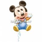 Шар из фольги Микки Маус на рождение ребенка, 64х81см, наполнение гелием входит в цену