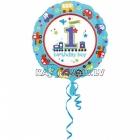 Folijas balons ar hēliju 1. Dzimšanas Dienai, puisītim, 45cm, piepūšana ar hēliju ietilpst cenā.
