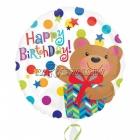 Folijas balons ar hēliju Dzimšanas Dienai, ar punktiņiem un lāci, 45cm, piepūšana ar hēliju ietilpst cenā.